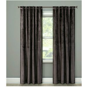 "NEW! (1) Gray Velvet 95"" Room Darkening Curtain"